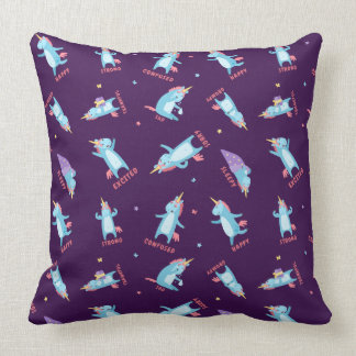 Many Moods of a Pink, Blue, and Purple Unicorn Cushion