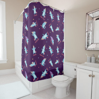 Many Moods of a Pink, Blue, and Purple Unicorn Shower Curtain
