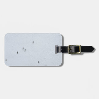 Many mosquitoes on a wall luggage tag