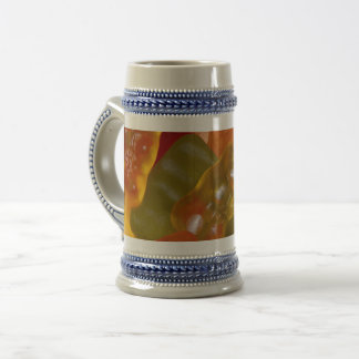 Many multicolored jelly babies... beer stein