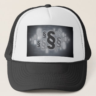 Many paragraphs in front of concrete wall concept trucker hat