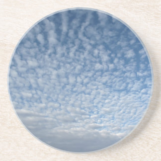 Many soft clouds against blue sky background coaster