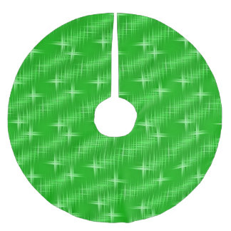 many stars, neon green brushed polyester tree skirt