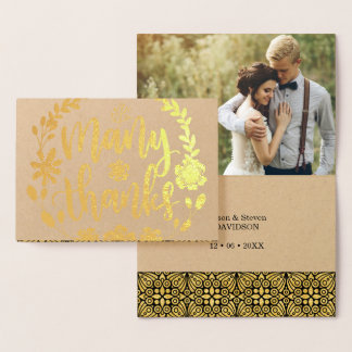 Many Thanks Gold Foil scripted text wedding photo Foil Card