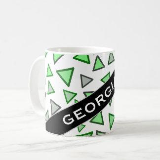 Many Triangles Colored Various Shades of Green Mug