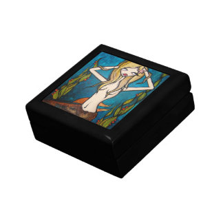 """Many Waters"" Jewelry Trinket Box, Small Small Square Gift Box"
