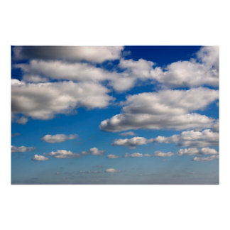 many white fluffy clouds poster