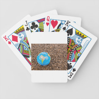 Many whole coffee beans with South America globe Bicycle Playing Cards
