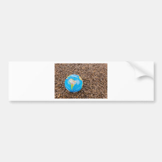Many whole coffee beans with South America globe Bumper Sticker