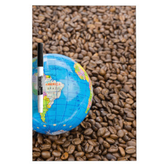 Many whole coffee beans with South America globe Dry Erase Board
