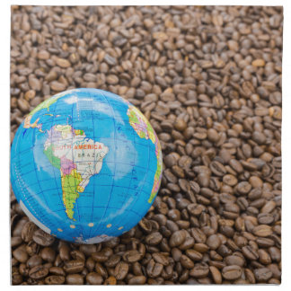 Many whole coffee beans with South America globe Printed Napkins