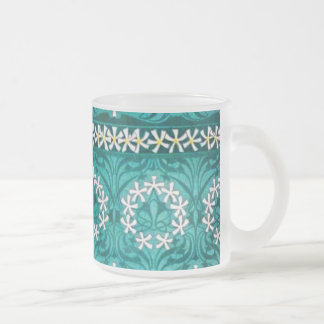 MANYTHANKS TEAL FLORAL WHITE YELLOW WREATHS PATTER COFFEE MUG