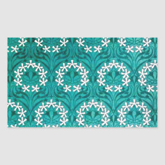 MANYTHANKS TEAL FLORAL WHITE YELLOW WREATHS PATTER RECTANGLE STICKER