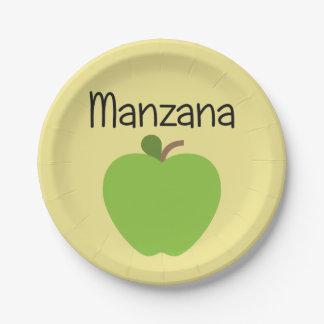 Manzana (Apple) Green Paper Plate