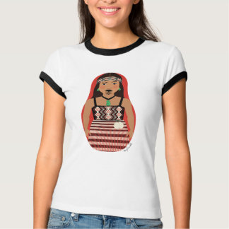 Maori Dancer Matryoshka Ladies Ringer T Tee Shirt