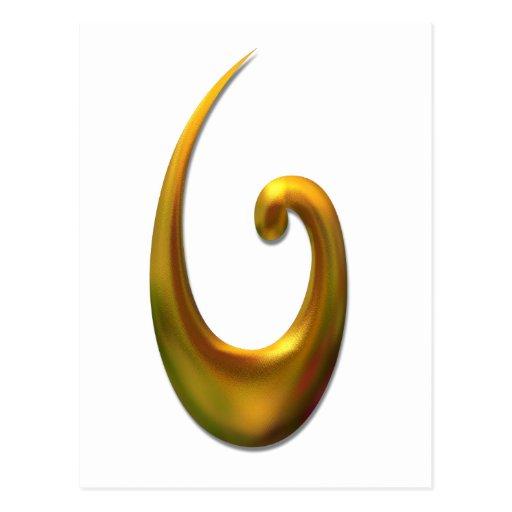 Maori Fish Hood - Gold Post Cards
