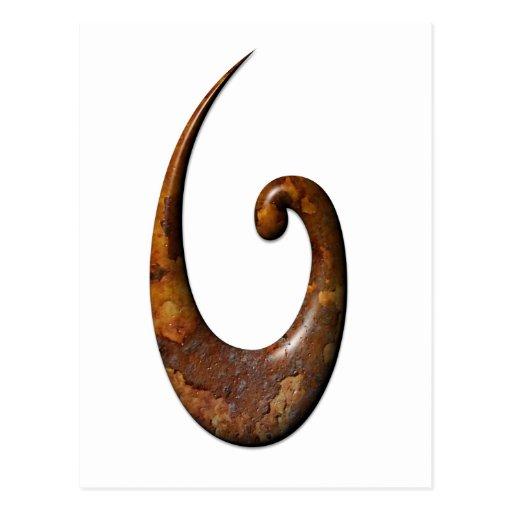 Maori Fish Hook - Rust Post Card