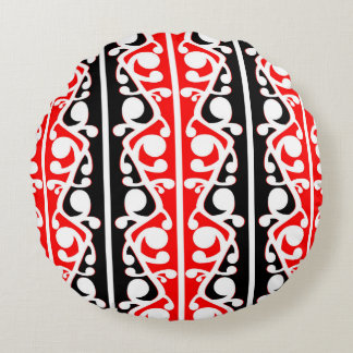 Maori Kowhaiwhai Traditional Pattern Round Cushion