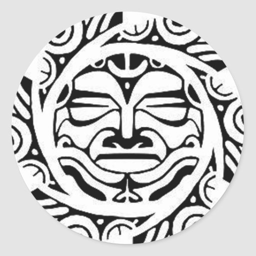 Maori Mask Round Sticker