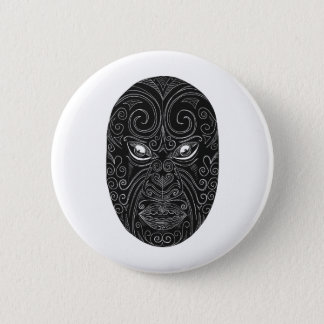Maori Mask Scratchboard 6 Cm Round Badge