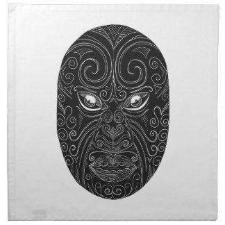 Maori Mask Scratchboard Napkin