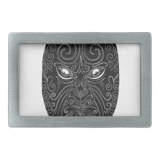 Maori Mask Scratchboard Rectangular Belt Buckles
