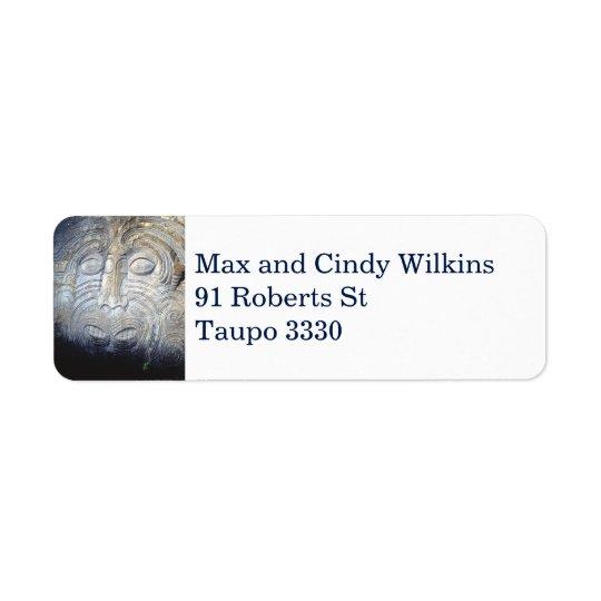 Maori Rock Carving Address Label Film