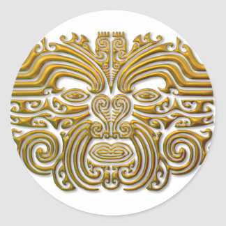 Maori Tattoo - Gold Round Sticker