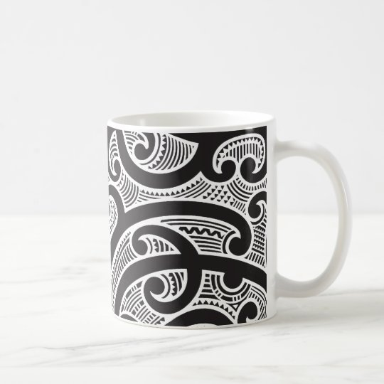 maori tribal tattoo pattern coffee mug. Black Bedroom Furniture Sets. Home Design Ideas