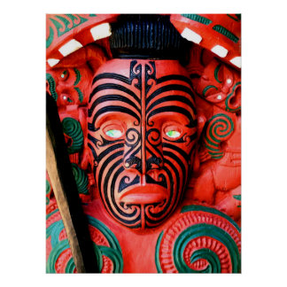Maori Warrior Carving, New Zealand Poster