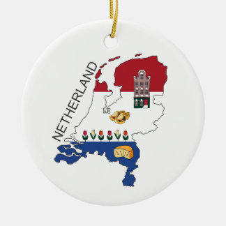 Map and Fkag of the Netherlands Ceramic Ornament