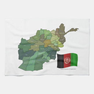 Map and Flag of Afghanistan Tea Towel