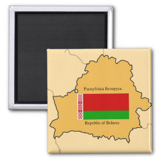 Map and Flag of Belarus Magnet