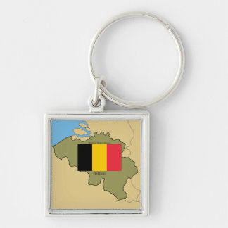 Map and Flag of Belgium Silver-Colored Square Key Ring