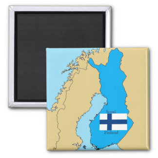 Map and Flag of Finland Magnet