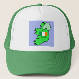 Map and Flag of Ireland Trucker Hat