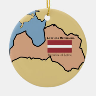 Map and flag of Latvia Ceramic Ornament