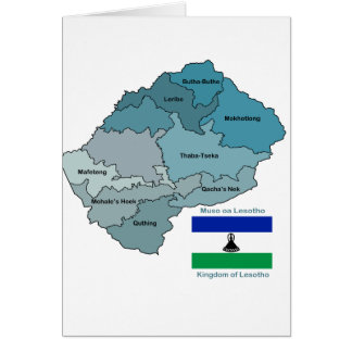Map and Flag of Lesotho Card