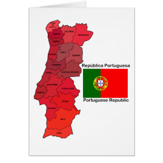 Map and Flag of Portugal Card