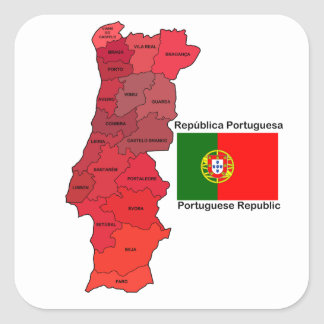 Map and Flag of Portugal Square Sticker