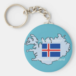 Map and Flag of Republic of Iceland Key Ring
