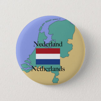 Map and Flag of the Netherlands 6 Cm Round Badge