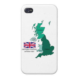 Map and Flag of the United Kingdom iPhone 4 Covers