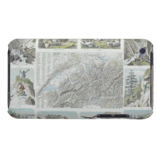 Map and Vignettes of Swiss Alps Barely There iPod Cover