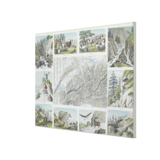 Map and Vignettes of Swiss Alps Gallery Wrapped Canvas