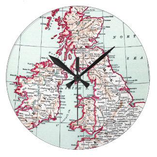 MAP: BRITISH ISLES, c1890 Clock