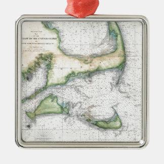 Map Cape Cod, Nantucket, Martha's Vineyard Metal Ornament