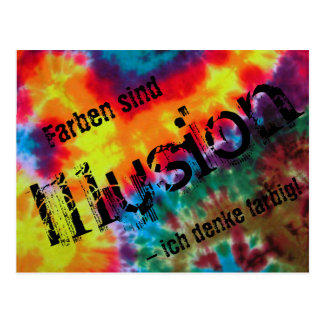 """Map, """"colors are illusion - I think colored! """" Postcard"""
