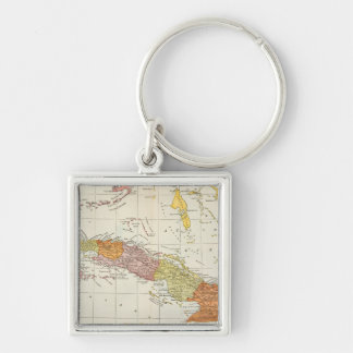 MAP: CUBA, 1900 Silver-Colored SQUARE KEY RING