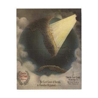 MAP: FLORIDA, 1898 WOOD PRINT